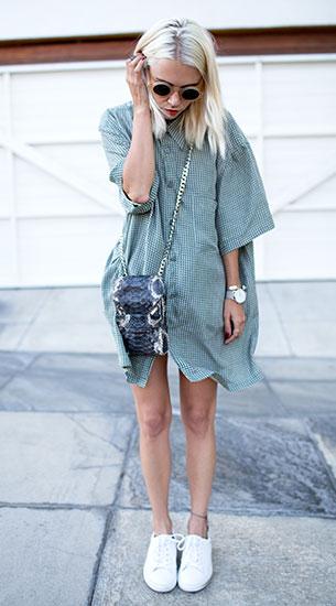 Shirt Dress Vintage Twin, รองเท้า Sandro, กระเป๋า Elisabeth Weinstock, แว่นตากันแดด Manifesto