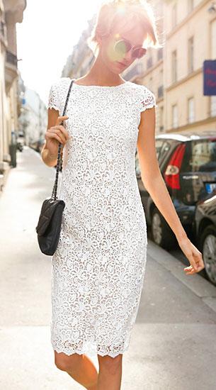 ชุดลูกไม้สีขาว Laura Clement
