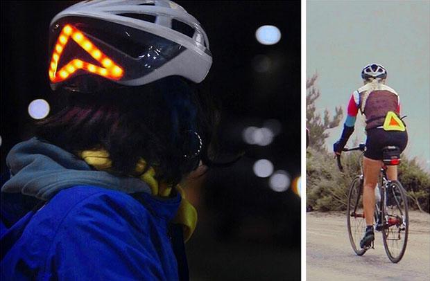 หมวกกันน็อคจักรยานที่มีสัญญาณไฟท้ายสีแดง