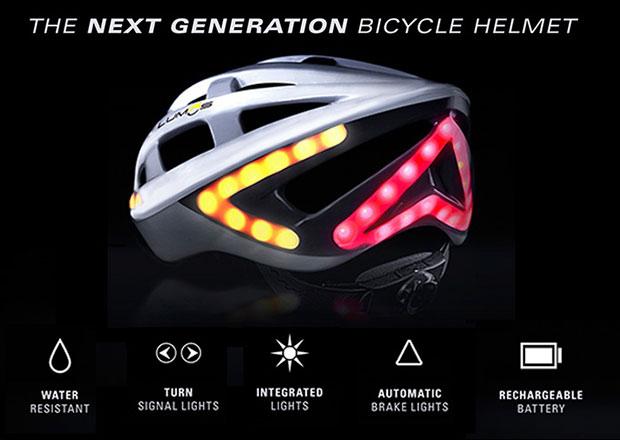 หมวกกันน็อคจักรยานที่มีสัญญาณไฟเลี้ยว ไฟเบรค