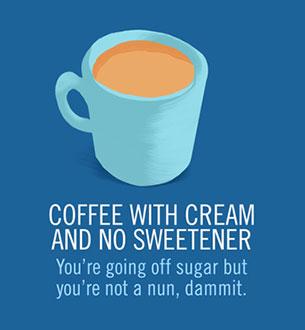 กาแฟใส่ครีมปราศจากสารให้ความหวาน