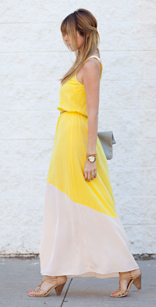 เดรสสีเหลือง Madison Marcus, รองเท้า Seychelles, กระเป๋า Heather Heron, นาฬิกา Marc Jacobs