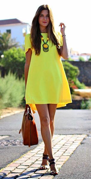 เดรสสีเหลือง Sheinside, รองเท้า Green Coast, กระเป๋า Massimo Dutti