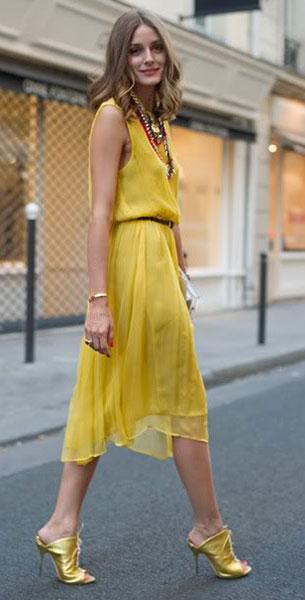 เดรสสีเหลือง Topshop รองเท้าส้นสูงสีทอง