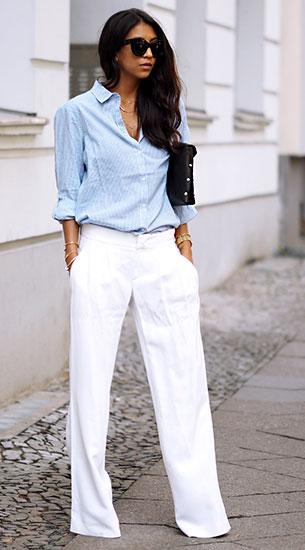กางเกงขาบานสีขาว Deyk, เสื้อเชิ้ตลายตั้งสีฟ้า Villa, รองเท้าส้นสูง The Mode Collective, กระเป๋า Diesel