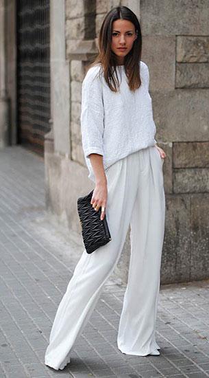 กางเกงขาบานสีขาว Zara, เสื้อสีขาว Zara, รองเท้า Zara, กระเป๋า Miu Miu, แว่นตากันแดด & Other Stories