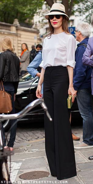 กางเกงขาบานสีดำ, เสื้อสีขาว