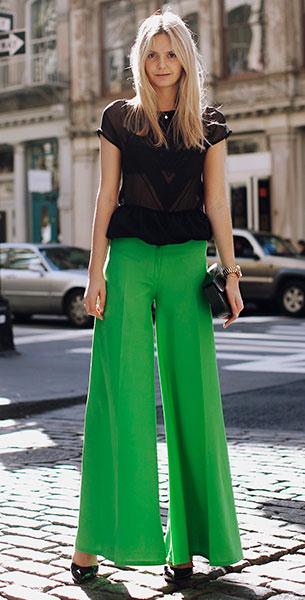 กางเกงขาบานสีเขียว Vintage, เสิ้อสีดำ Maurie & Eve, รองเท้าส้นสูง Asos, กระเป๋า Vintage