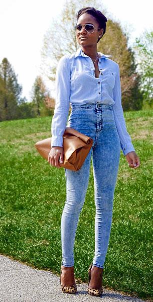 กางเกงยีนส์ฟอก, เสื้อเชิ้ตสีฟ้า H&M