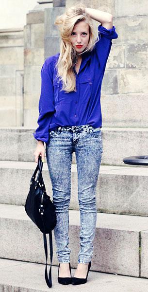 กางเกงยีนส์ฟอก Lux, เสื้อเชิ้ตสีน้ำเงิน Vintage, รองเท้า Bianco, กระเป๋า Pennyblack