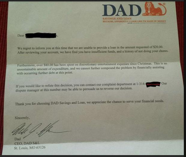 จดหมายแก้เผ็ดจากพ่อถึงลูกชายตัวแสบที่ขอเงิน