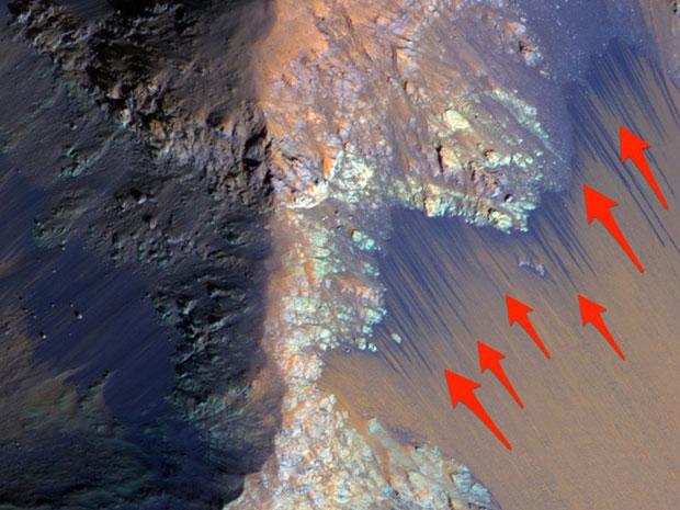 พบน้ำไหลบนดาวอังคาร
