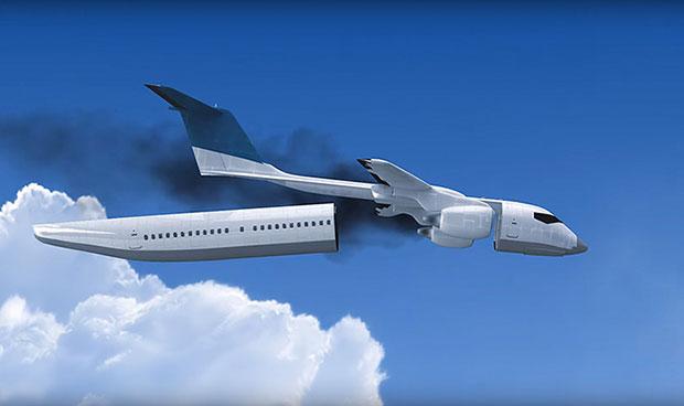 เครื่องบินแยกชิ้นส่วนห้องโดยสารได้ในกรณีฉุกเฉิน