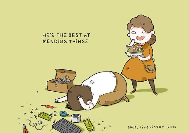 เขาเก่งในเรื่องซ่อมข้าวของต่างๆ