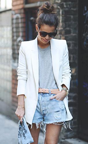 เบลเซอร์สีขาว Mango, กางเกงยีนส์ขาสั้น  Levi's, เสื้อยืดสีเทา Primark, รองเท้า Asos, คลัทช์ American Apparel