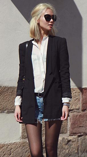 เบลเซอร์สีดำ H&M, กางเกงยีนส์ขาสั้น Levi's, เสื้อเชิ้ตสีขาว Second Femme, แว่นตากันแดด Miu Miu