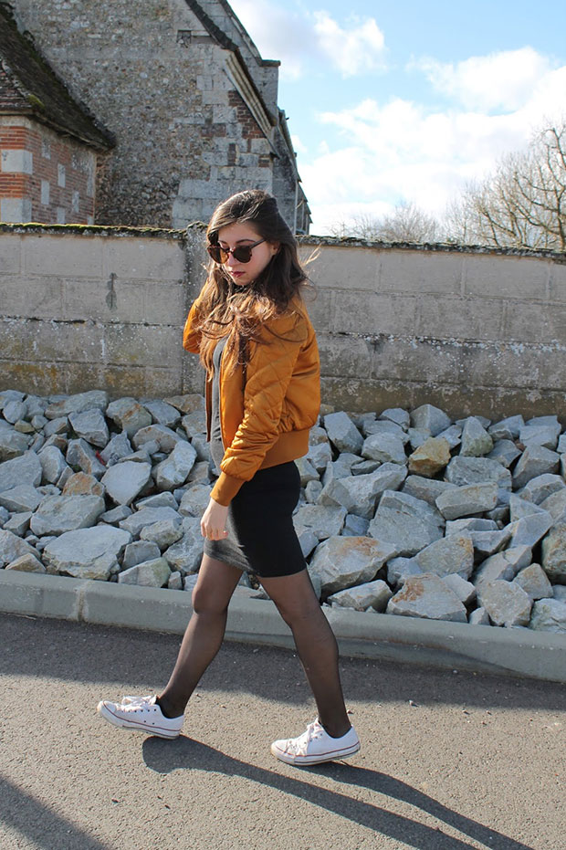 H&M Bomber, H&M Dress, Converse Sneakers, H&M Sunnies