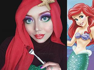 ช่างแต่งหน้าสาวกับการแปลงโฉมเป็นตัวละครดิสนีย์โดยใช้ผ้าคลุมฮิญาบ
