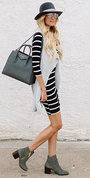 เดรสลายทางสีดำสีขาว, เสื้อกั๊กสีเทา, รองเท้าบู๊ท