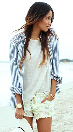 เสื้อลายทางสีขาวสีฟ้า  Madewell, กางเกงขาสั้นลายดอกไม้ Insight, หมวก UO
