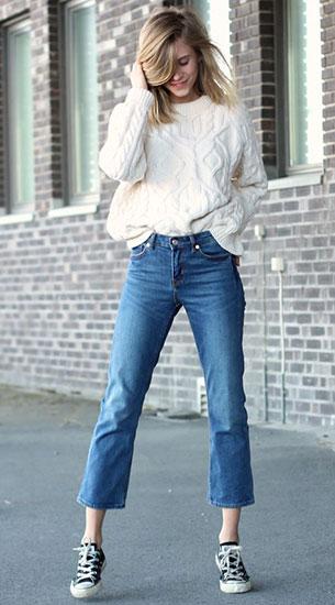 กางเกงยีนส์ขาเต่อ Weekday, สเว็ตเตอร์สีขาว McQ