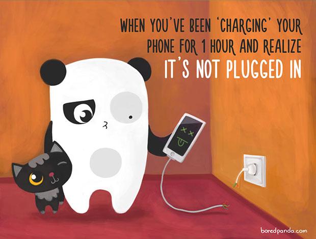 ชาร์จโทรศัพท์มือถือมานานหนึ่งชั่วโมงและเพิ่งเห็นว่าไม่ได้เสียบปลั๊ก