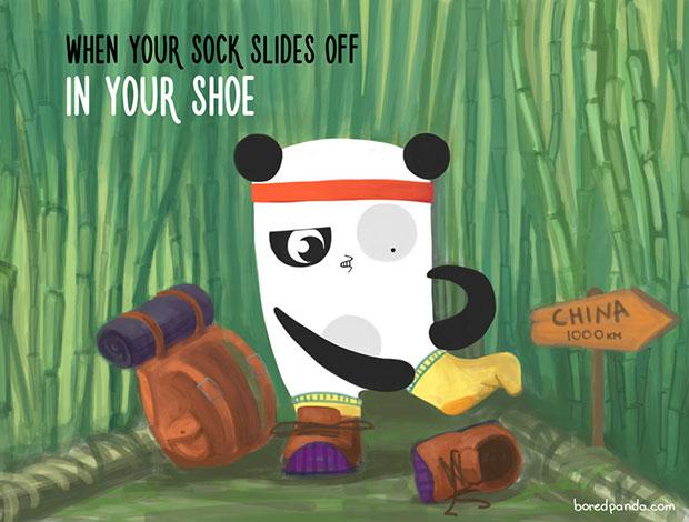 ตอนที่ถุงเท้าเลื่อนหลุดอยู่ในรองเท้า