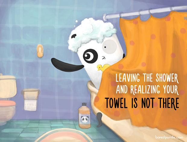 อาบน้ำเสร็จแล้วเพิ่งรู้ว่าไม่มีผ้าเช็ดตัว