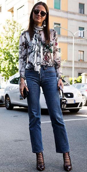 Cropped Jeans, เสื้อลายดอกไม้, รองเท้าส้นสูง