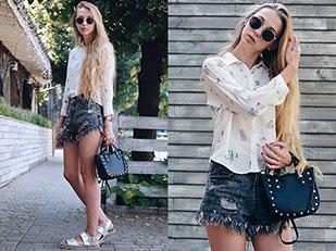 กางเกงขาสั้น Shein, เสื้อเชิ้ต Zara, กระเป๋า Zara