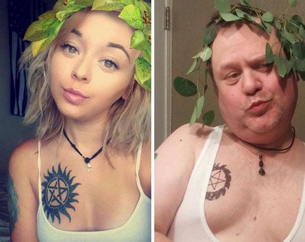 คุณพ่อสุดน่ารักล้อเลียนภาพเซลฟี่ของลูกสาว