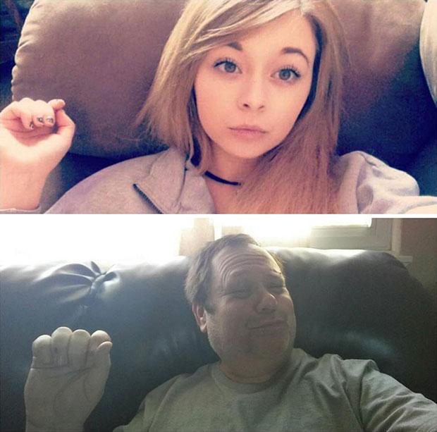 พ่อเลียนแบบภาพเซลฟี่ของลูกสาว