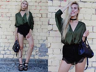 เสื้อ Asos, กางเกงขาสั้น Romwe, กระเป๋า Zara, รองเท้า Missguided, สร้อยคอ Crazy Factory