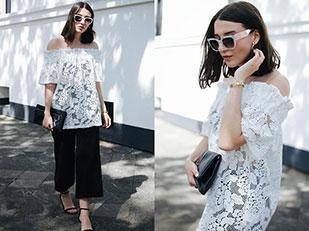 เสื้อ H&M, กางเกง Zara, กระเป๋า Mango, รองเท้าส้นสูง Asos, แว่นตากันแดด Ace&Tate