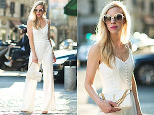 จั๊มสูท H&M, กระเป๋า Saint Laurent, รองเท้า Stuart Weitzman, แว่นตากันแดด Dior