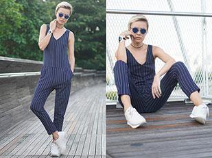 จั๊มสูท Zara, รองเท้า Zara, สร้อยคอ Tee&Ing, แว่นตากันแดด Tee&Ing, นาฬิกา Calvin Klein