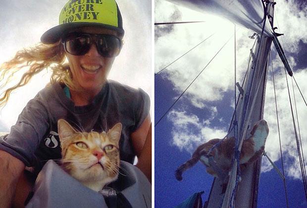 ผู้หญิงคนนี้ล่องเรือเที่ยวกับแมวคู่ใจ