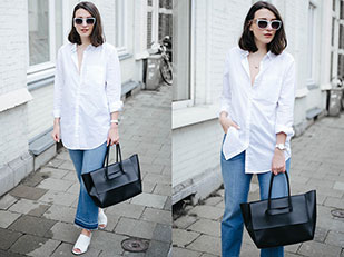เสื้อเชิ้ต H&M, กางเกงยีนส์ H&M, กระเป๋า Eleven, รองเท้าส้นสูง Forever 21, แว่นตากันแดด Ace&Tale