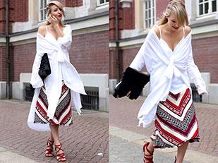 เสื้อเชิ้ต H&M, เสื้อ Zara, รองเท้าส้นสูง Zara, กระโปรง Zara, กระเป๋า Asos