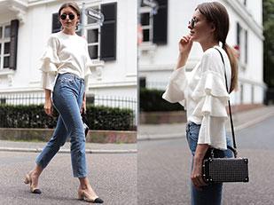 เสื้อ Chicwish, กางเกงยีนส์ Miss Selfridge, กระเป๋า Zara, รอเท้า Chanel, แว่นตากันแดด Ray Ban