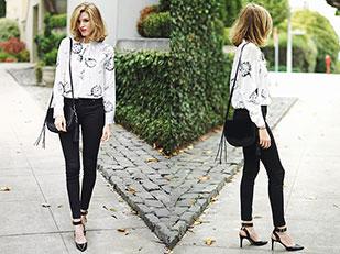 เสื้อ Express, รองเท้าส้นสูง Nine West, กางเกงยีนส์ BlankNYC, กระเป๋า Rebecca Minkoff