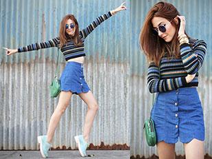 เสื้อ Renner, กระโปรง Lulu's, กระเป๋า Ado Atelier, รองเท้า Melissa, แว่นตากันแดด ZeroUV