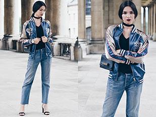 แจ็คเก็ต Asos, เสื้อยืด Topshop, รองเท้าส้นสูง Zara, กางเกงยีนส์ Levi's, กระเป๋า Valentino