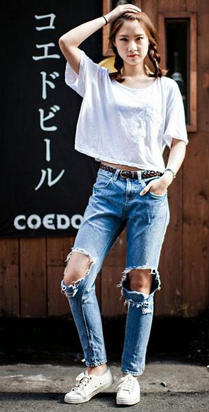 แฟชั่นสไตล์สาวเกาหลี, เสื้อยืดสีขาว, กางเกงยีนส์