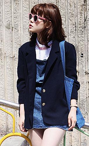 แฟชั่นสไตล์สาวเกาหลี, เสื้อสูทสีน้ำเงิน, เดรสยีนส์