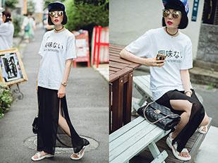 เสื้อยืด Salz Tokyo, กระโปรง H&M, กระเป๋า Metrocity, รองเท้า Teva, หมวก ZeroUV