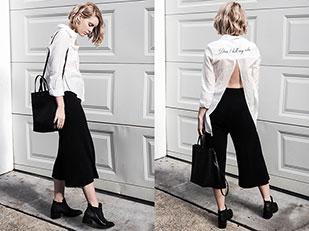 เสื้อเชิ้ต Topshop, รองเท้าบู๊ท Céline, กางเกง Delphine the Label, กระเป๋า Delphine the Label