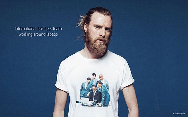 Adobe เสื้อลายสกรีนทีมธุรกิจต่างประเทศกำลังสุมหัวกันรอบโน๊ตบุ๊ค
