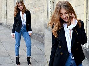 เสื้อสูท Mango, เสื้อ H&M, รองเท้า Zara, กางเกงยีนส์ Pull&Bear, กระเป๋า Paulina Schaedel