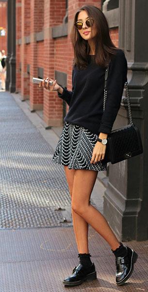 สเว็ตเตอร์สีดำ Uniqlo, กระโปรงขาวดำ Zara, รองเท้า Ash, กระเป๋า Chanel